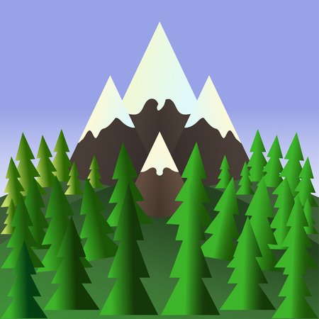 Landscape with pine trees and mountains. Stock Vector Vector