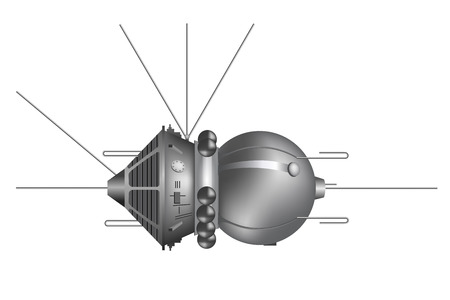 yuri: The first spaceship Vostok. Vector illustration