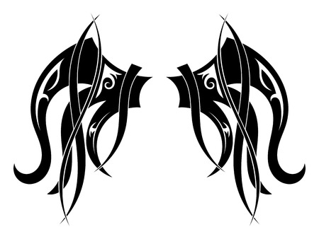 bird  celtic: Graphic design Tribal tattoo wings. Vector illustration