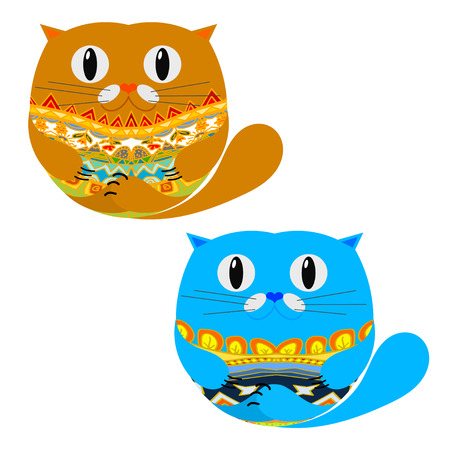 Two Cute Cat. Vector illustration Vector