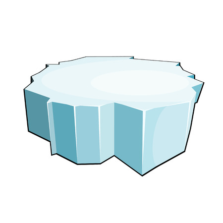 floe: Cartoon ice floe. Isolate on white background. Vector illustration