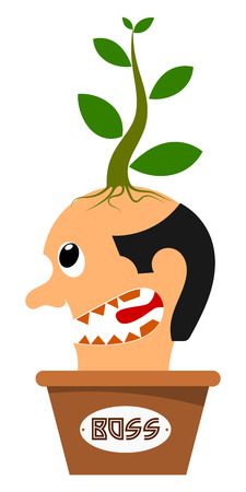 thanks a lot: Abstract image of the head boss in a flowerpot. Vector illustration Illustration