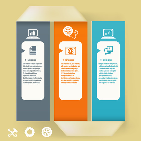 Abstract elements of infographics. Paper tape with symbols and icons. Vector illustration Vector