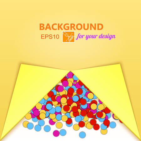 new year eve confetti: Abstract colored yellow background with confetti and place for text. Vector illustration
