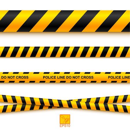 peligro: La l�nea de polic�a cinta y peligro sobre un fondo claro. Vectores