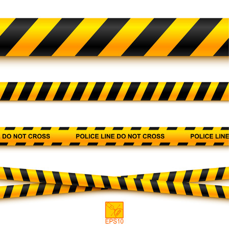 Police line tape and danger on a light background.  Vector