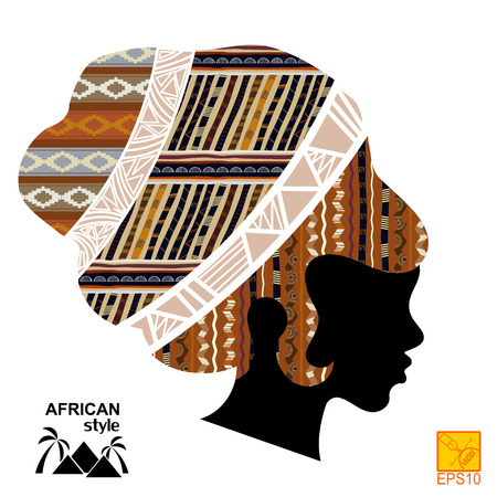Silhouette of the head of an African girl Vector