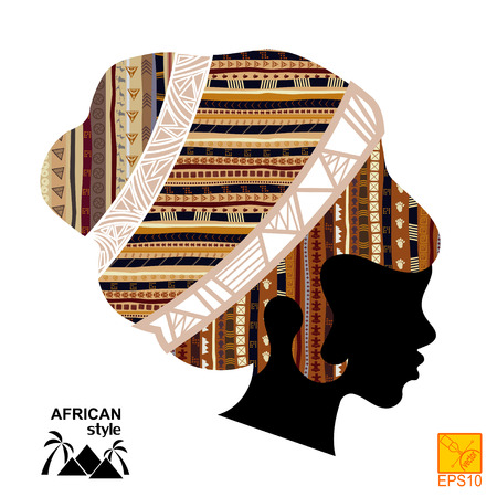 outage: Silhouette of the head of an  black African girl Illustration