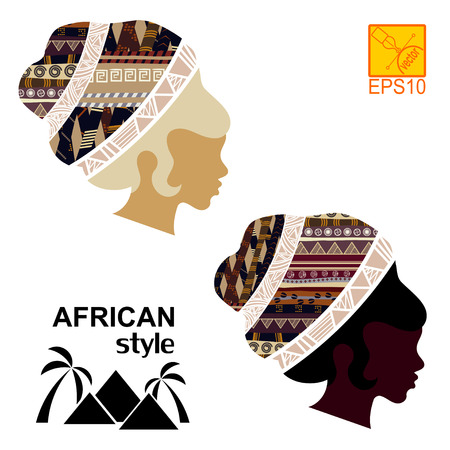Silhouettes of the head of an  black African girls Vector