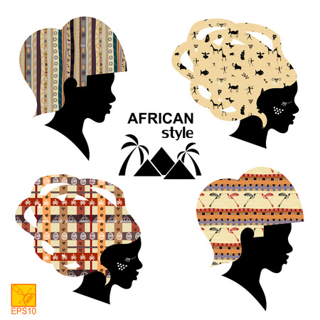 outage: Set of silhouettes of heads of African women