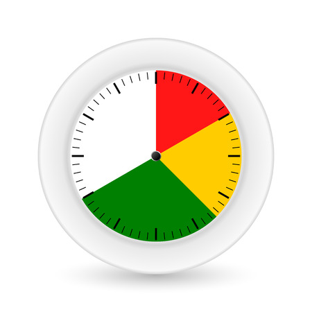part time: Clock on a white background with bright sectors. Vector illustrations Illustration