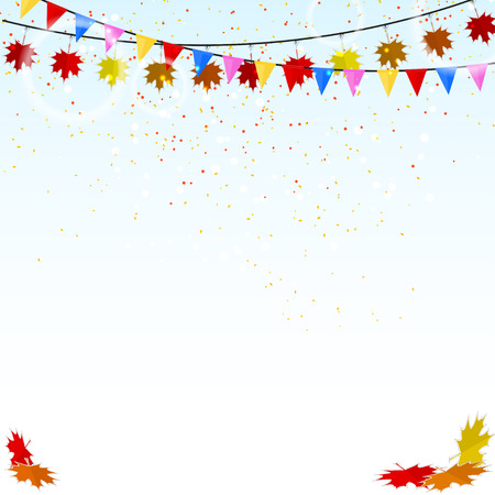 Autumn holiday background with confetti and flags. Vector illustration Vector