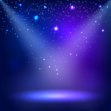 floodlit: Blue a scenic with spotlight background. Vector illustrations