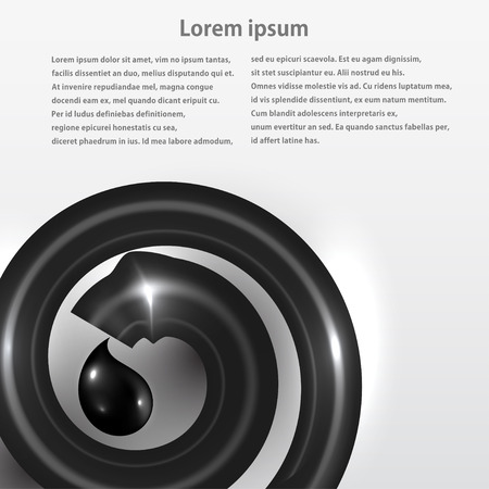 Background with a pipe and a drop of oil. Vector illustration Vector