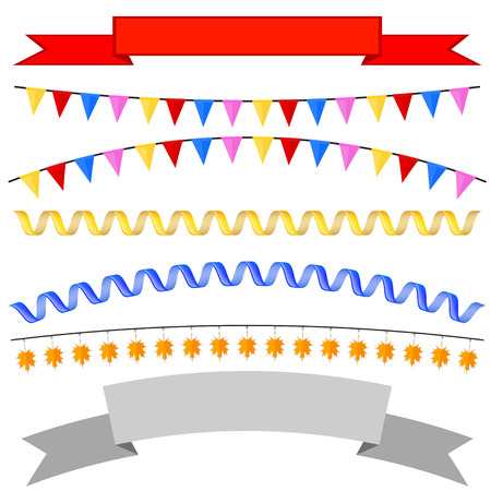 isolates: Set isolates flags, tape headers, garland. Vector illustration