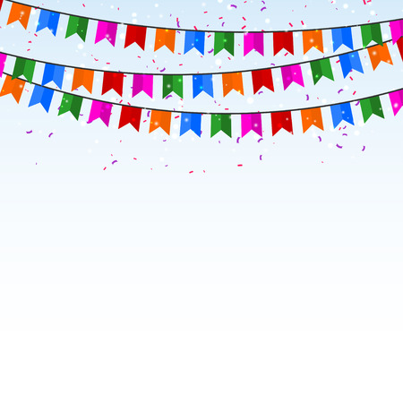 Celebratory background with confetti and flags. Vector illustration Vector