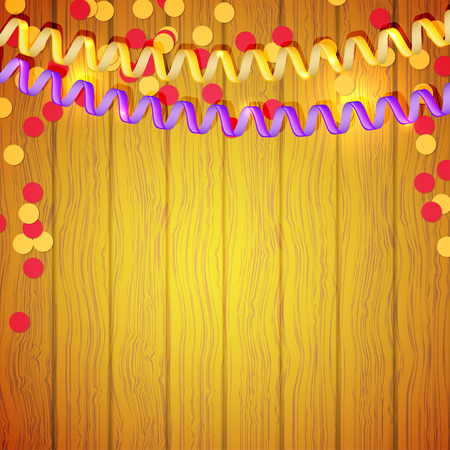 Festive serpentine and confetti on a wooden background. Vector illustration. Vector
