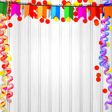 Festive flags, serpentine and confetti on a wooden background. Vector illustration. Vector