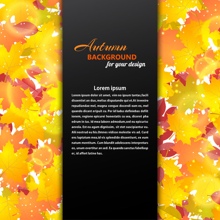 withering: Autumn background with maple and other leaves. Black text box illustration.