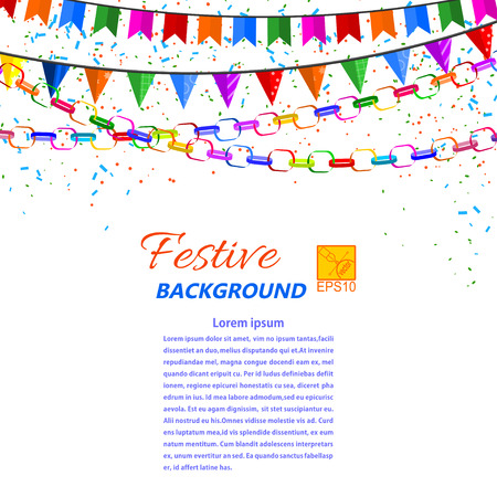 Festive garland, streamers and flags isolated on a white background illustration. Vector