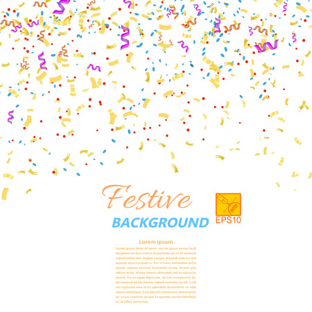 Festive confetti and streamers isolated on white background. Vector illustration. Vector
