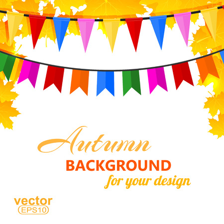 Autumn background with maple leaves and pins illustration. Vector