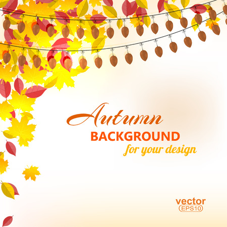 withering: Background on autumn theme, yellow and red leaves falling illustration. Illustration