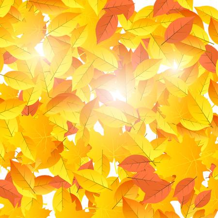 Background on autumn theme of falling yellow and orange leaves illustration.