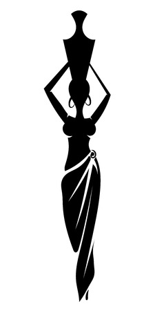african woman hair: Black silhouette slim African girl illustration