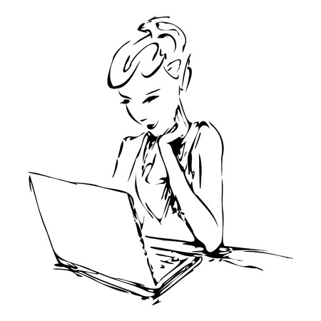 girl with laptop: Graphic image of a girl working on a laptop illustration
