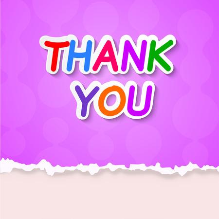 short phrase: Thank plate on a purple background. Vector illustration. Illustration