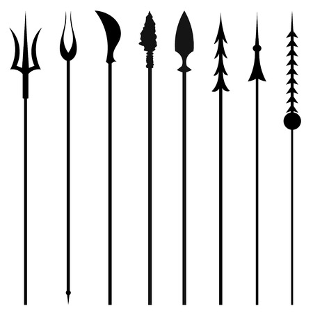 barbaric: Set mines and tridents isolated on white background. Vector illustration. Illustration
