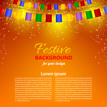 chinese lantern: Festive orange background with garland of Chinese lanterns.