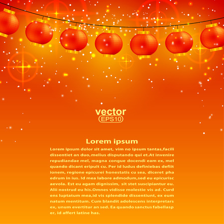 chinese lantern: Festive orange background with garland of Chinese lanterns and stars.