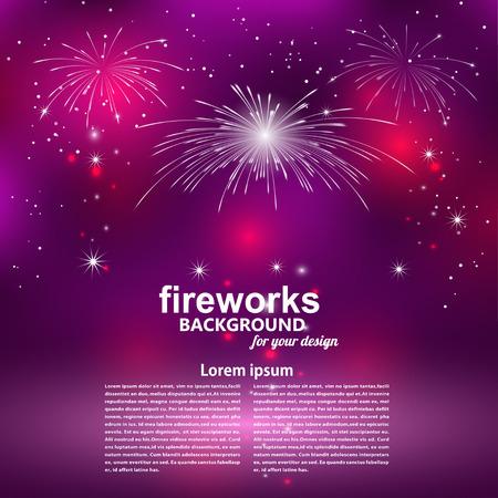 慶祝的煙花在紫色背景。 向量圖像