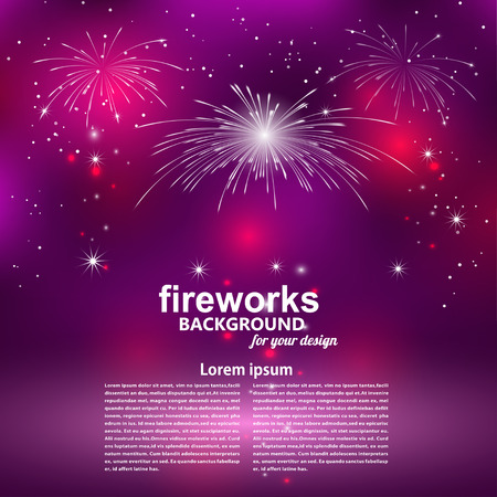 Celebratory fireworks on a purple background.