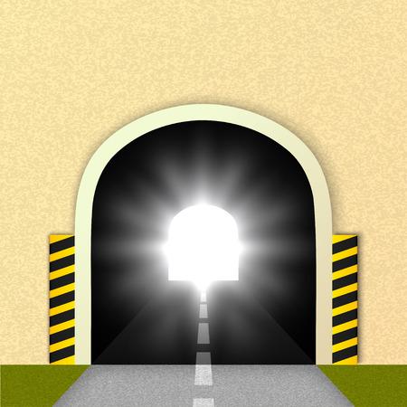 Road tunnel, the glare of headlights.