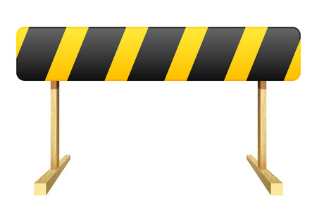 roadblock: Barrier isolated on white background. Black and yellow stripe.