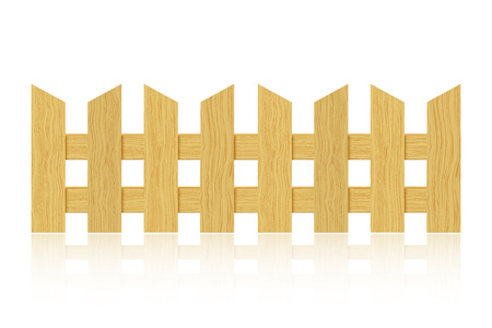 Wooden fence with reflection on white background.  Vector
