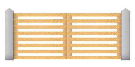 wicket gate: Wooden fence with concrete columns on a white background.  Illustration