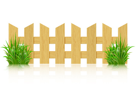 Wooden fence isolated on a white background and green grass. Vector