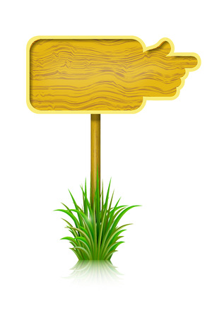 Wooden board in the shape of a hand and grass isolated on white background.  Vector