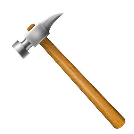 Hammer with wooden hilt isolated on a white background.  Vector
