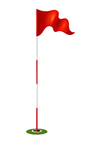 golf flag: Red flag in the hole. Golf.