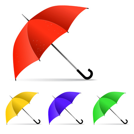 Set of multi-colored umbrella isolated on white background.  Vector
