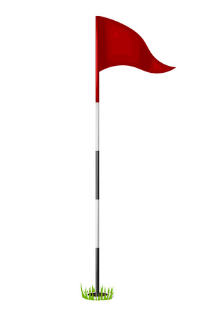 Red flag in the hole. Golf. Isolated on white background. Stock Illustratie