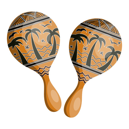 reggae: Maracas en bois de style tribal. Isol� sur fond blanc. Illustration