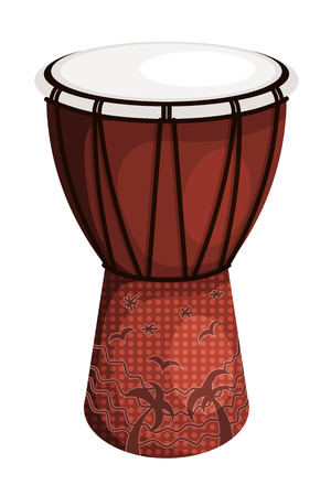tambor: Tomtom tambor estilo tribal con palmeras y aves marrón. Aislado en el fondo blanco.