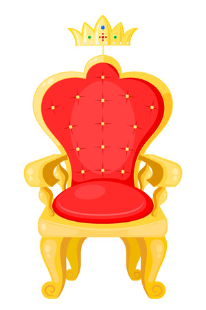 analogous: Bright red throne and the royal crown isolated on a white background.