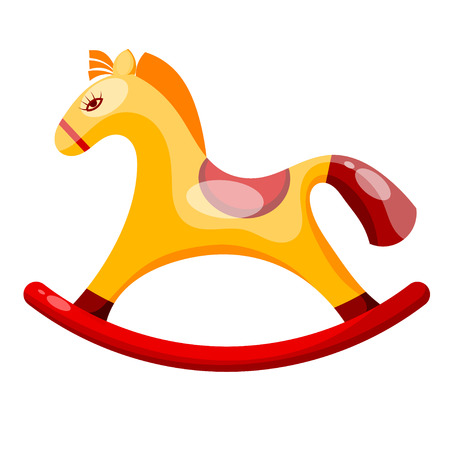 Toy rocking horse isolated on white background.  Vector